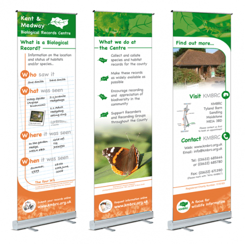 Informational display banners for biological records centre