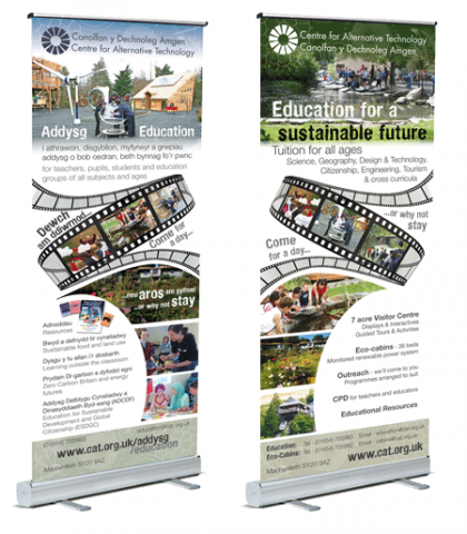 Banners designed for the CAT eco center sustainable education department