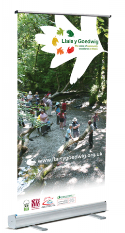 Banner designed for community woodland organisation